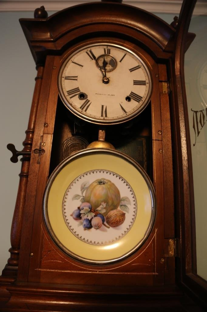 1875 WALNUT ANTIQUE DOUBLE FASHION CLOCK - 10