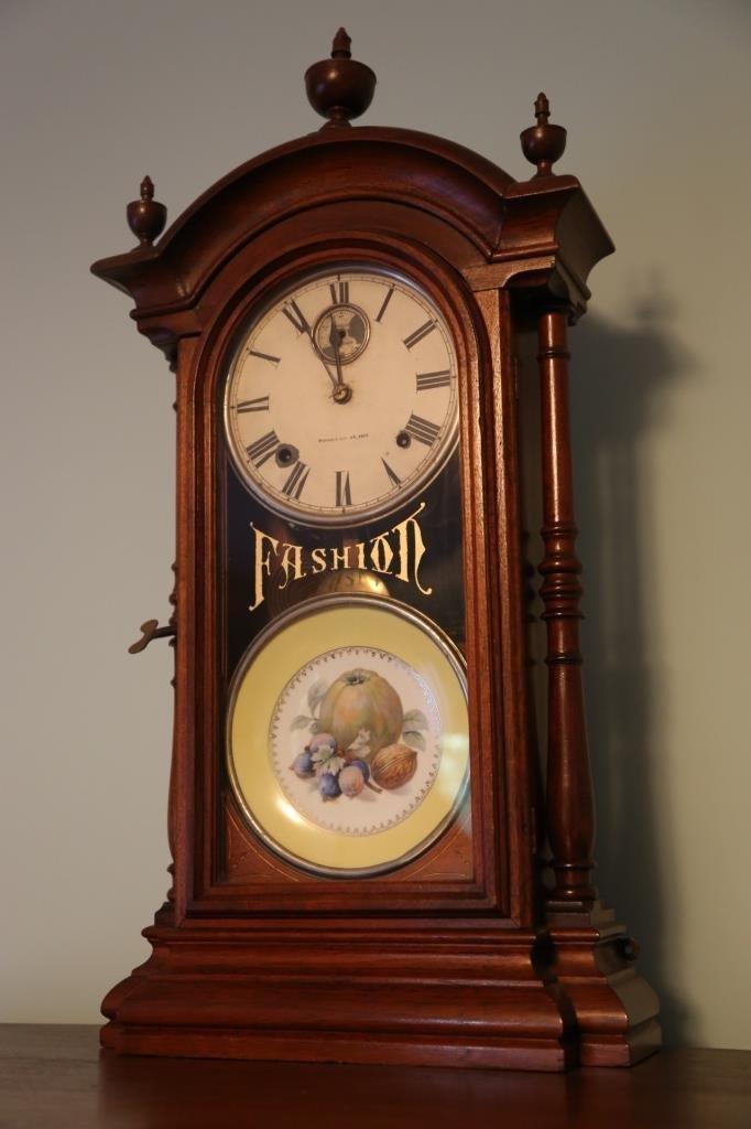 1875 WALNUT ANTIQUE DOUBLE FASHION CLOCK