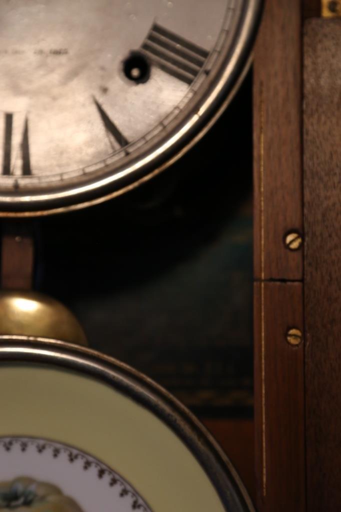 1875 WALNUT ANTIQUE DOUBLE FASHION CLOCK - 2