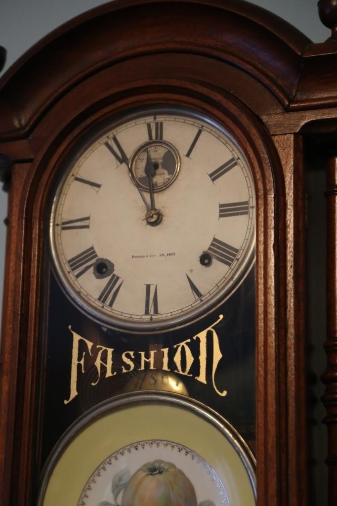 1875 WALNUT ANTIQUE DOUBLE FASHION CLOCK - 3