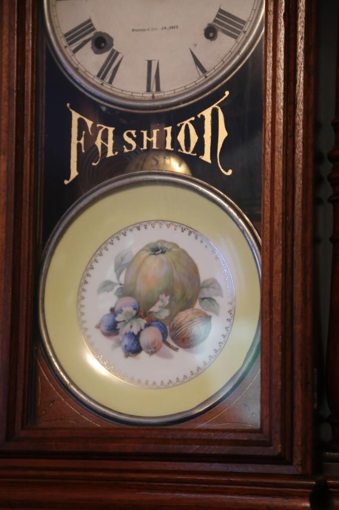 1875 WALNUT ANTIQUE DOUBLE FASHION CLOCK - 4