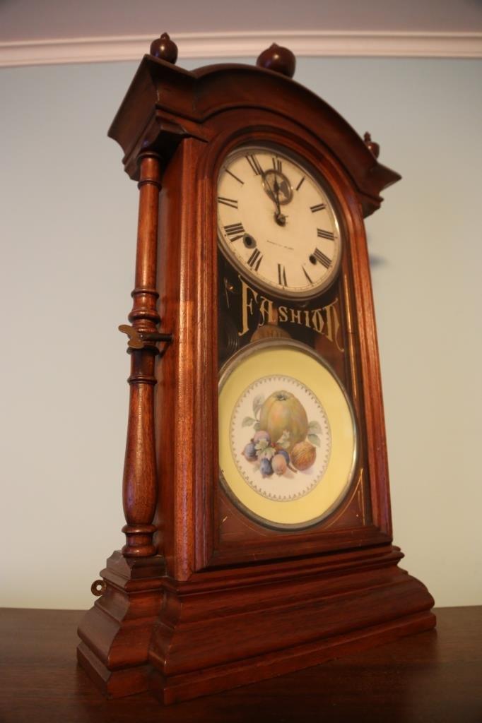 1875 WALNUT ANTIQUE DOUBLE FASHION CLOCK - 6