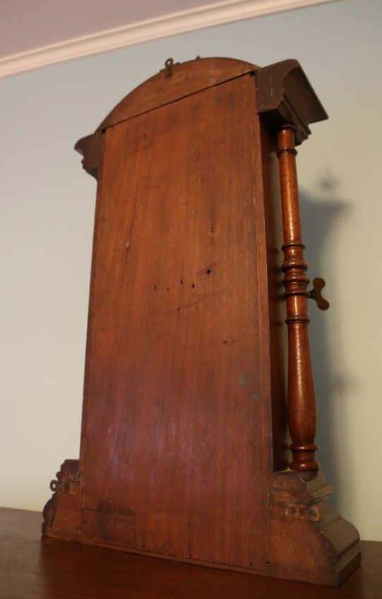 1875 WALNUT ANTIQUE DOUBLE FASHION CLOCK - 9