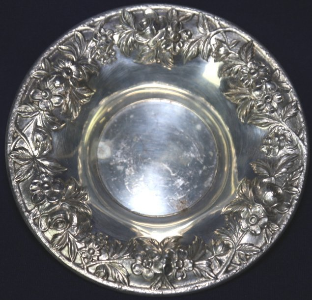 S. KIRK & SON STERLING REPOUSSE NUT & CANDY BOWL