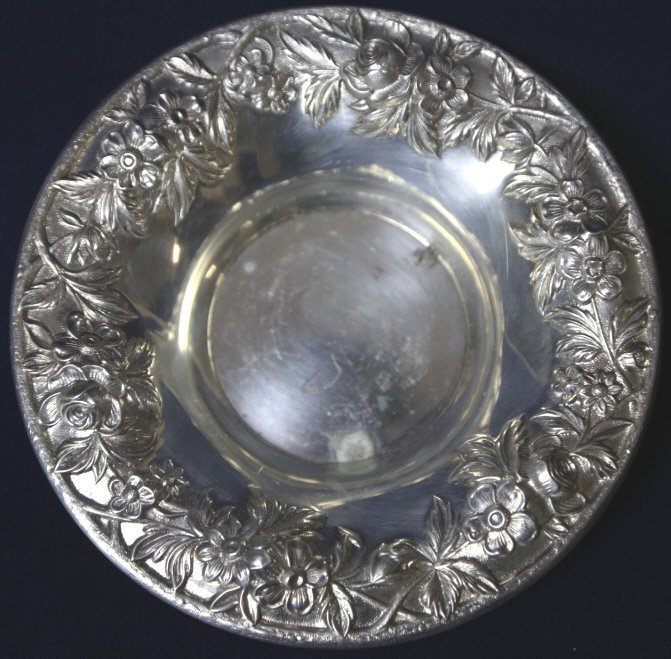 S. KIRK & SON STERLING REPOUSSE NUT & CANDY BOWL - 5