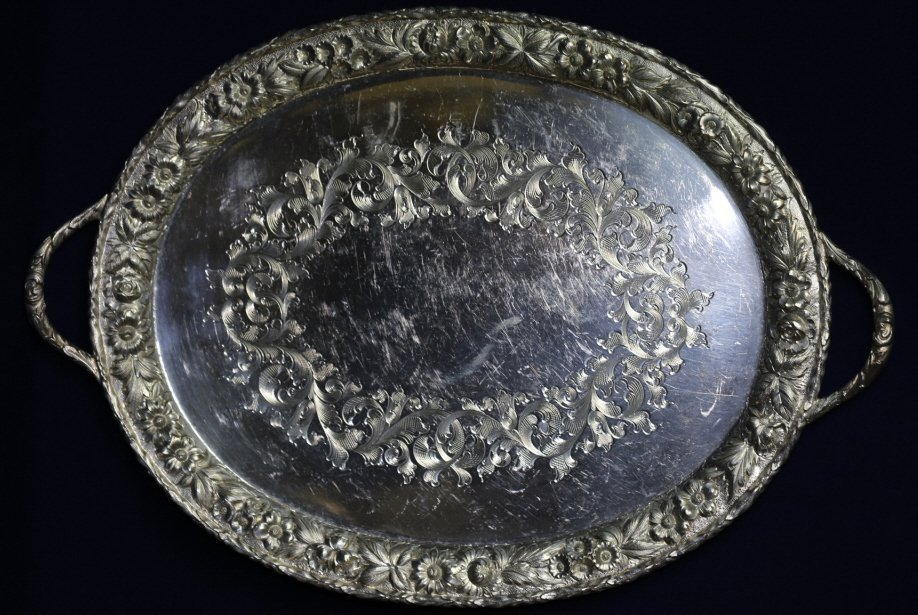S. KIRK & SON LARGE STERLING REPOUSSE HANDLED TRAY