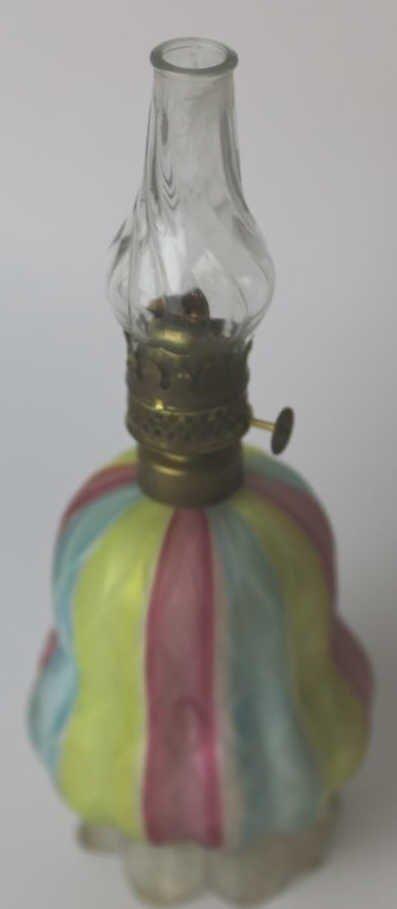 ANTIQUE RAINBOW SATIN GLASS OIL LAMP - 3