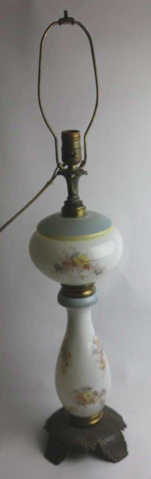 ANTQUE FLORAL HAND PAINTED OIL LAMP CONVERSION