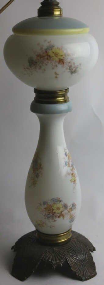 ANTQUE FLORAL HAND PAINTED OIL LAMP CONVERSION - 2