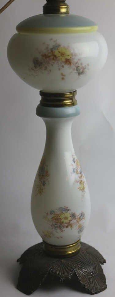 ANTQUE FLORAL HAND PAINTED OIL LAMP CONVERSION - 3