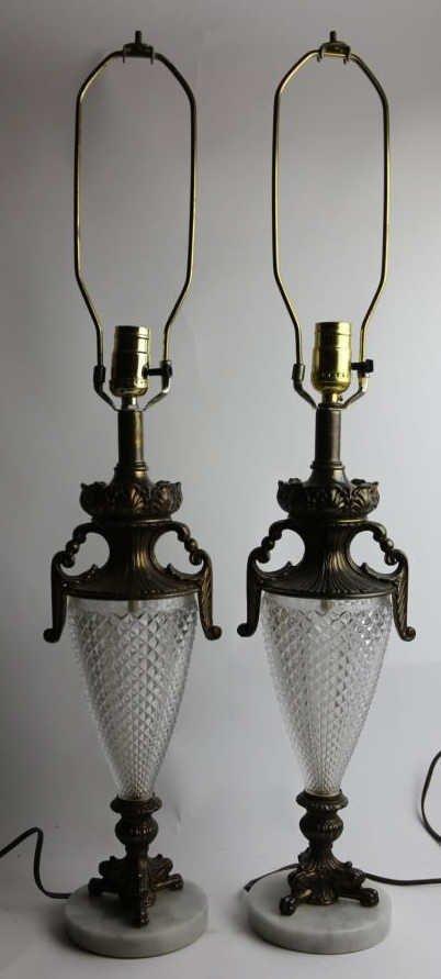 VINTAGE CRYSTAL & MARBLE BASE LAMPS