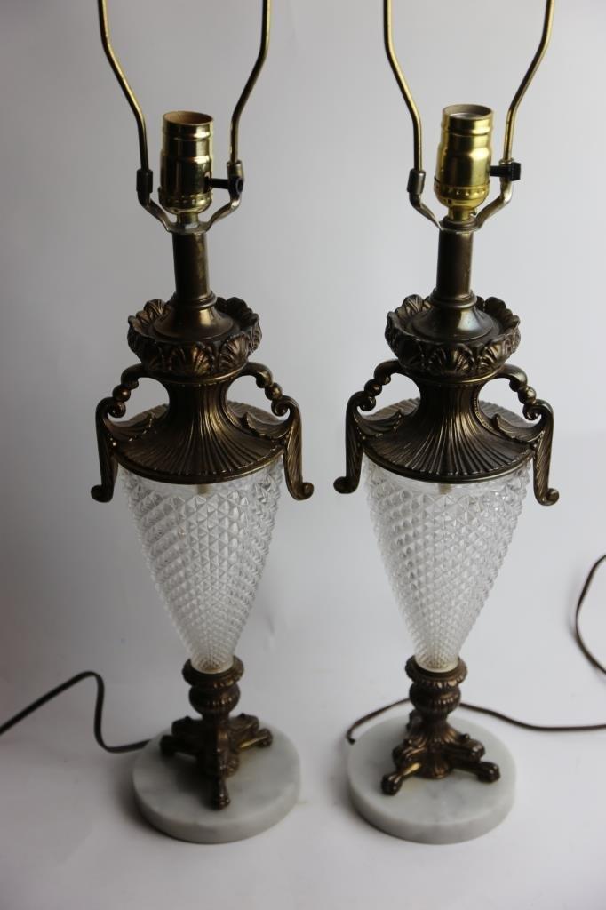 VINTAGE CRYSTAL & MARBLE BASE LAMPS - 2