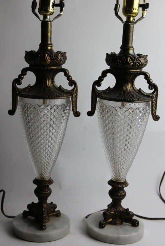 VINTAGE CRYSTAL & MARBLE BASE LAMPS - 3