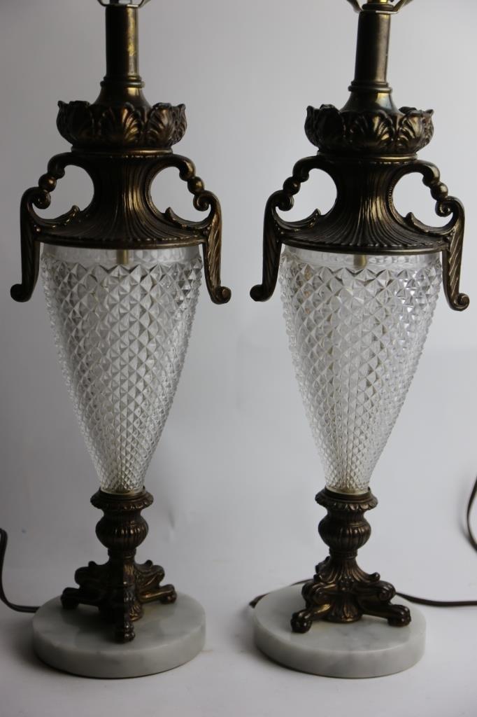 VINTAGE CRYSTAL & MARBLE BASE LAMPS - 4