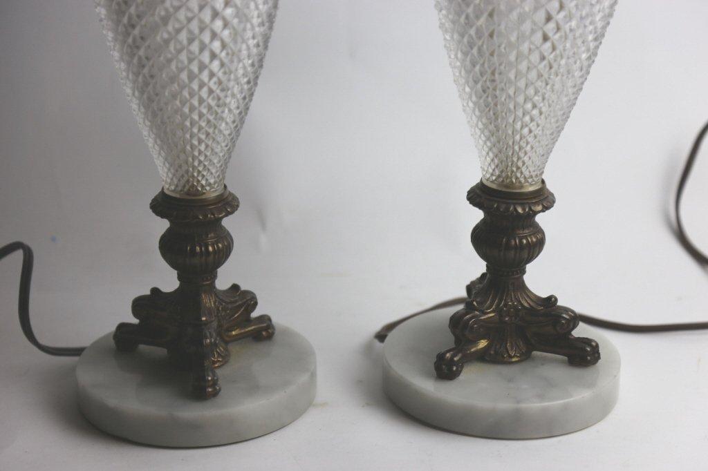 VINTAGE CRYSTAL & MARBLE BASE LAMPS - 5