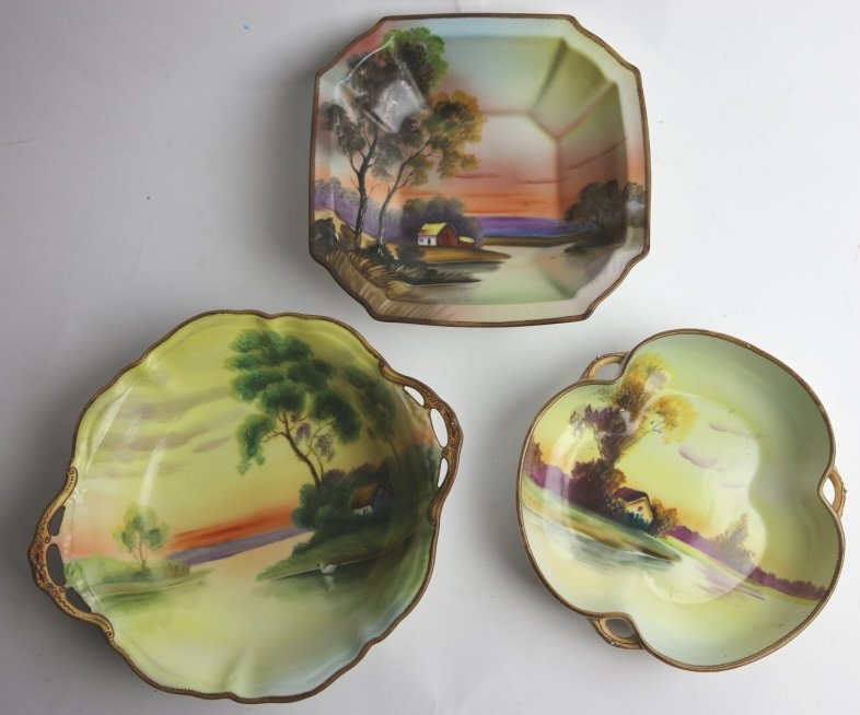 NIPPON HAND PAINTED BOWL GROUPING