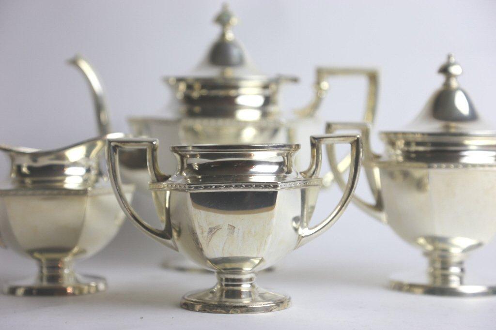 SILVER PLATE TEA SERVICE - 4