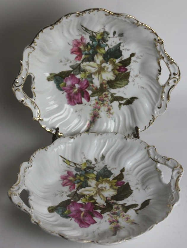 GERMAN FLORAL TWIN HANDLED CHARGERS