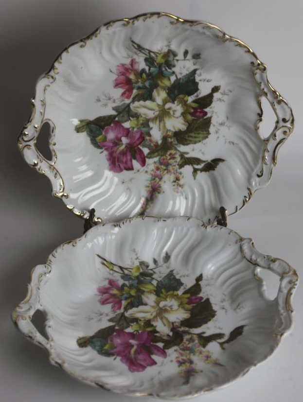 GERMAN FLORAL TWIN HANDLED CHARGERS - 2