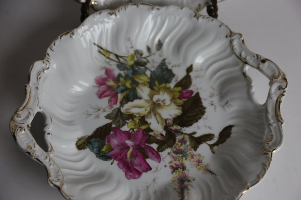GERMAN FLORAL TWIN HANDLED CHARGERS - 4