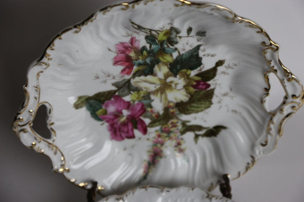 GERMAN FLORAL TWIN HANDLED CHARGERS - 5
