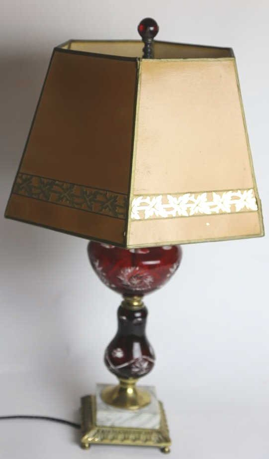 RUBY RED CUT-TO-CLEAR VINTAGE MARBLE BASE LAMP - 2