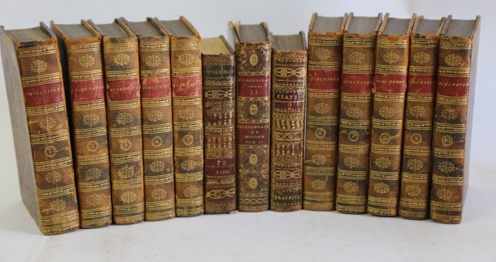 FRENCH ANTIQUE LEATHER BOUND BOOK LOT