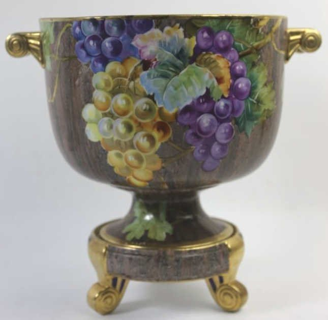 NIPPON JAPANESE RARE FOOTED TWIN HANDLE CACHE POT