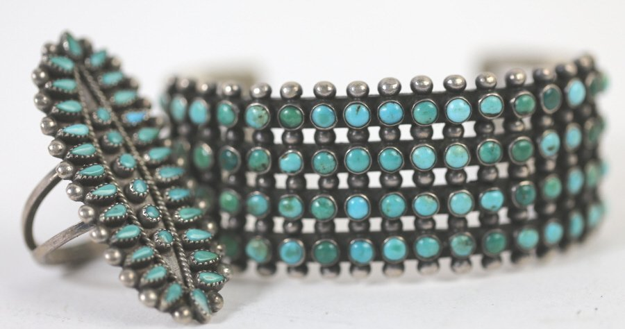ZUNI STERLING SILVER & TURQUOISE CUFF / RING SET