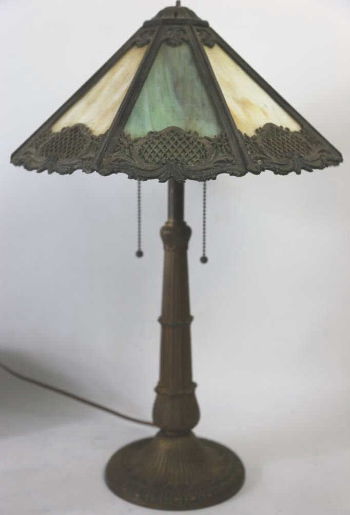BRADLEY & HUBBARD ANTIQUE SLAG GLASS LAMP