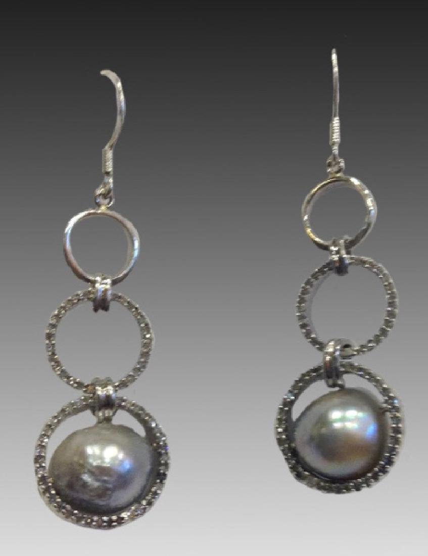 DIAMOND & BAROQUE PEARL EARRINGS
