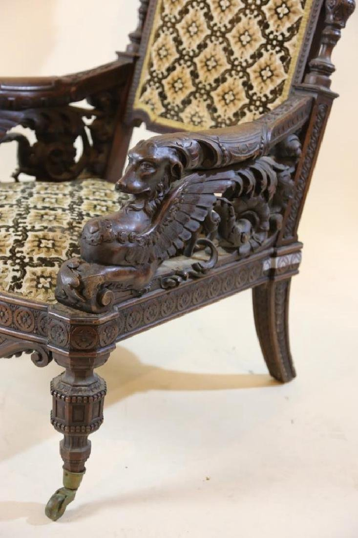 IMPORTANT VICTORIAN ANTIQUE CARVED ARM CHAIR - 11