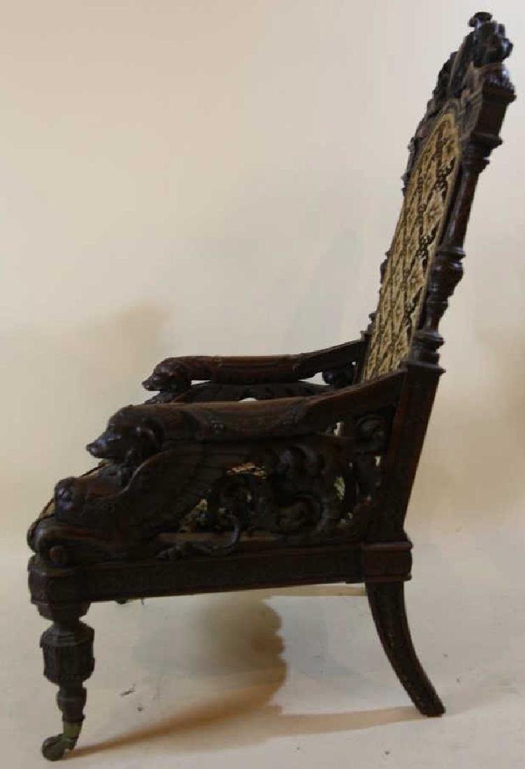 IMPORTANT VICTORIAN ANTIQUE CARVED ARM CHAIR - 12