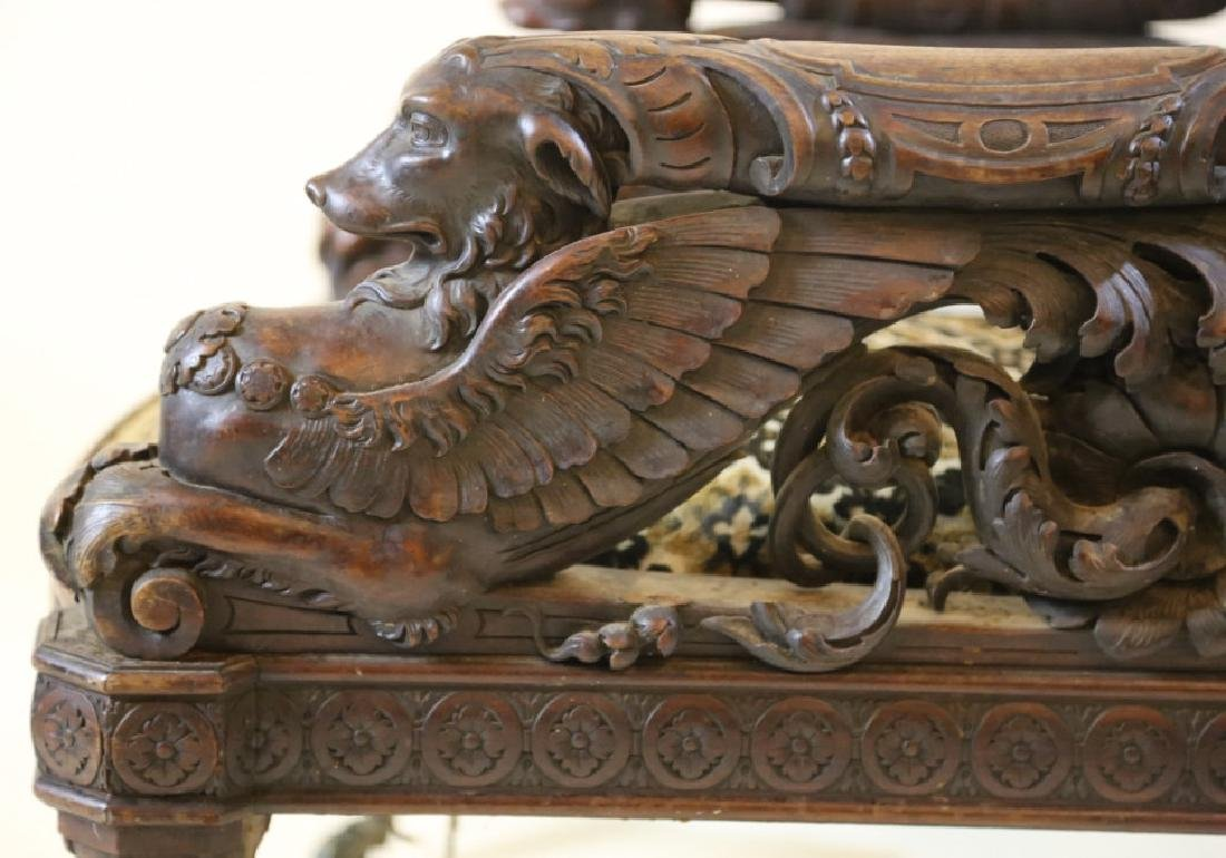 IMPORTANT VICTORIAN ANTIQUE CARVED ARM CHAIR - 13