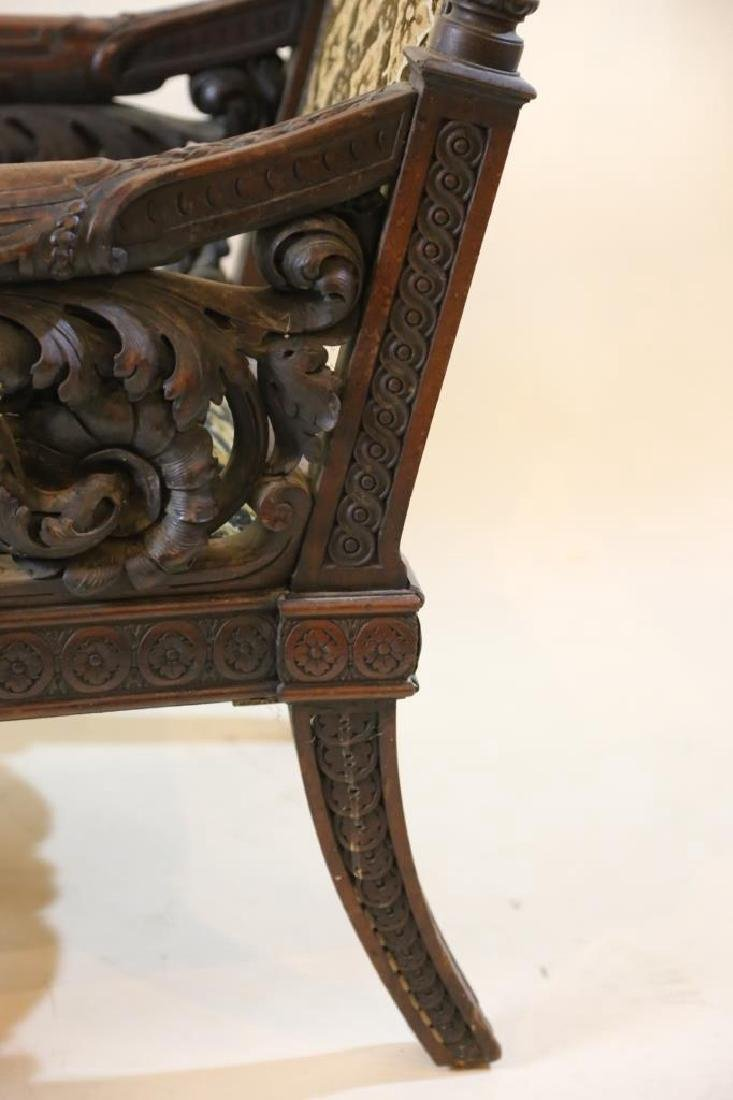 IMPORTANT VICTORIAN ANTIQUE CARVED ARM CHAIR - 15