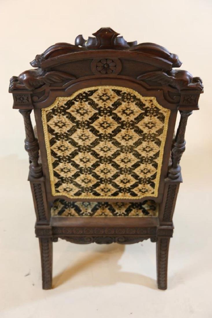 IMPORTANT VICTORIAN ANTIQUE CARVED ARM CHAIR - 16