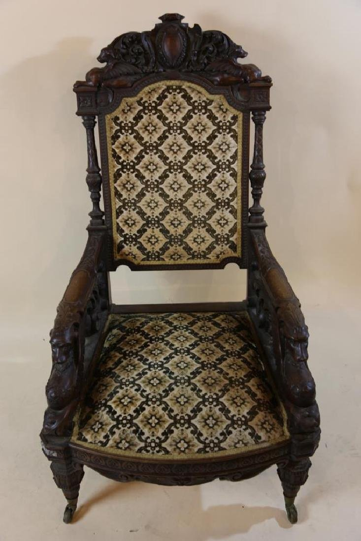IMPORTANT VICTORIAN ANTIQUE CARVED ARM CHAIR - 18