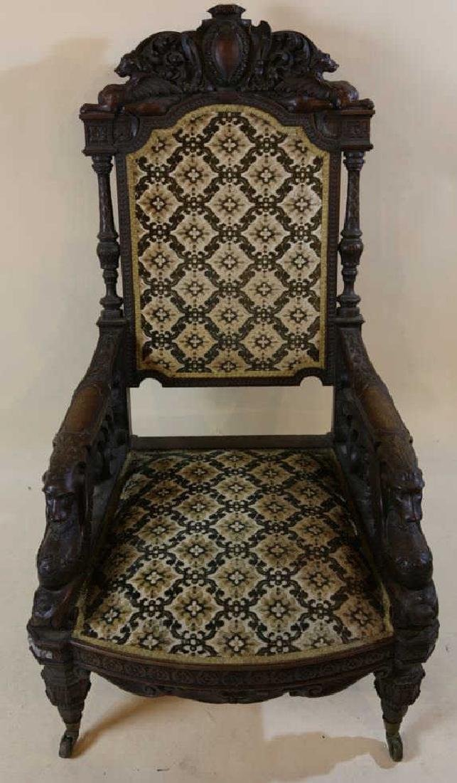 IMPORTANT VICTORIAN ANTIQUE CARVED ARM CHAIR - 20