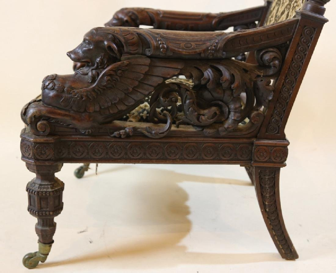 IMPORTANT VICTORIAN ANTIQUE CARVED ARM CHAIR - 2