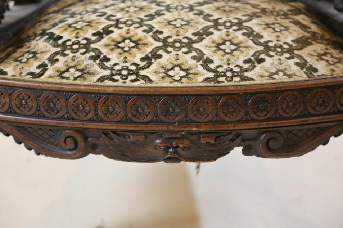 IMPORTANT VICTORIAN ANTIQUE CARVED ARM CHAIR - 7
