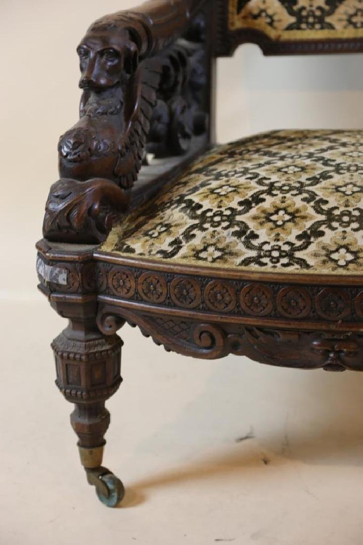 IMPORTANT VICTORIAN ANTIQUE CARVED ARM CHAIR - 8