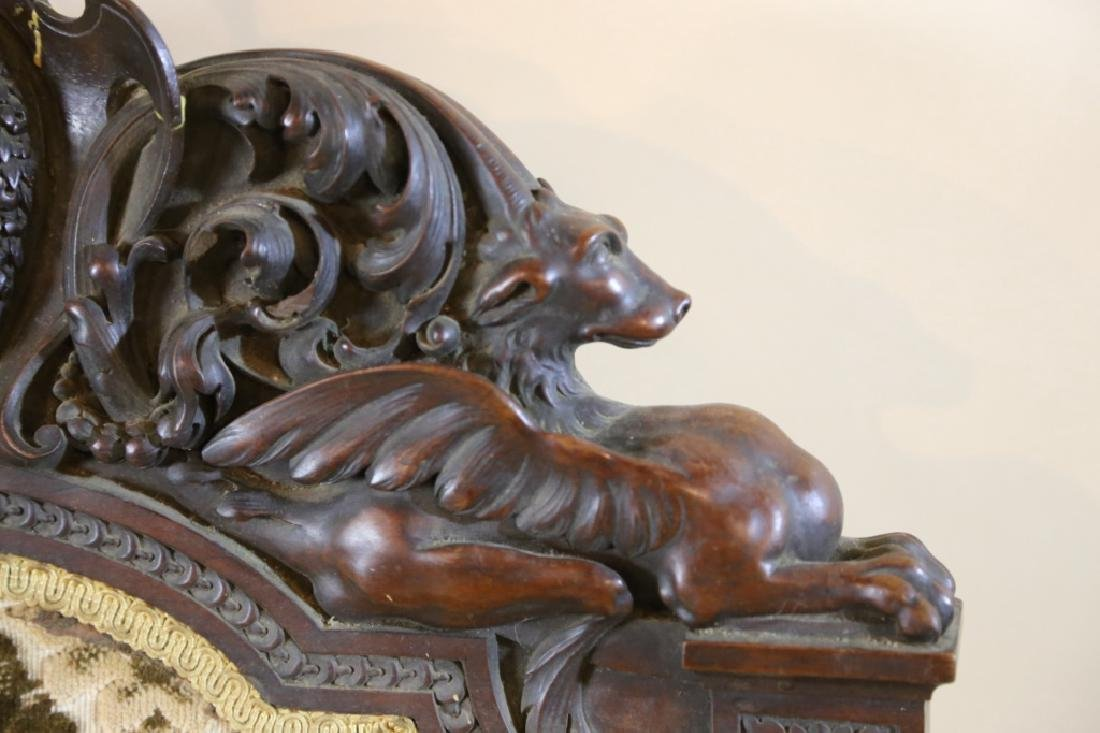 IMPORTANT VICTORIAN ANTIQUE CARVED ARM CHAIR - 9