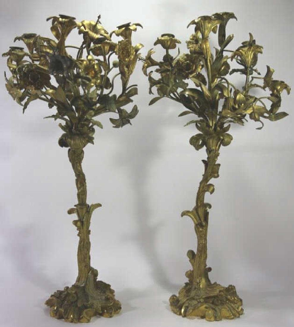 FRENCH BRONZE DORE FINE ANTIQUE FLORAL CANDLEABRA