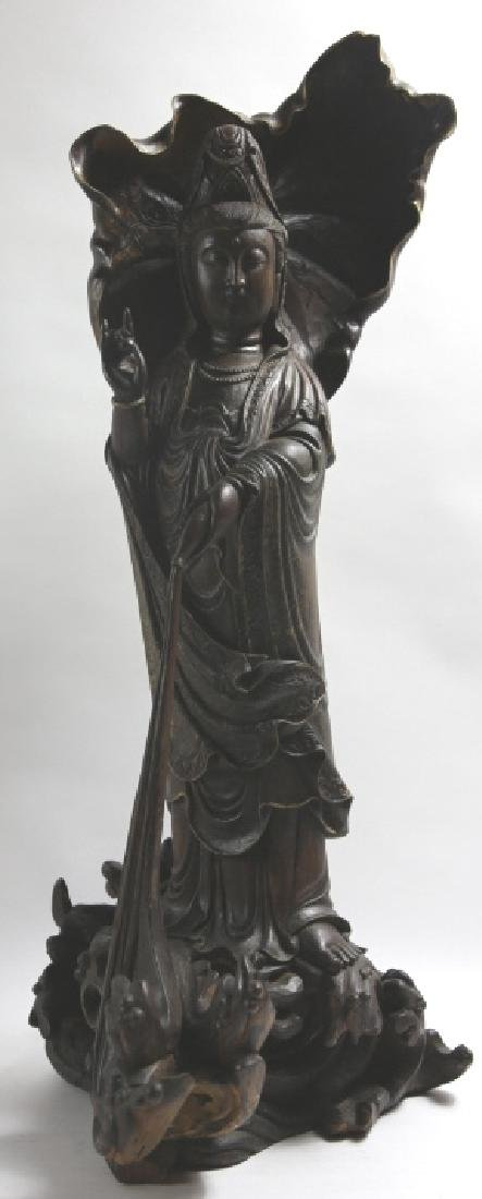 CHINESE ANTIQUE CAVED GUANYIN & LOTUS LEAF
