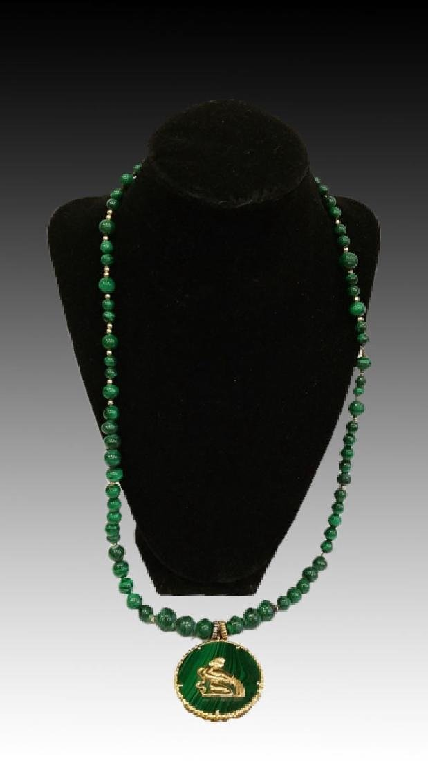14KYG & MALACHITE PENDANT AND BEAD NECKLACE - 2