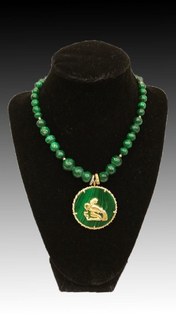 14KYG & MALACHITE PENDANT AND BEAD NECKLACE - 6