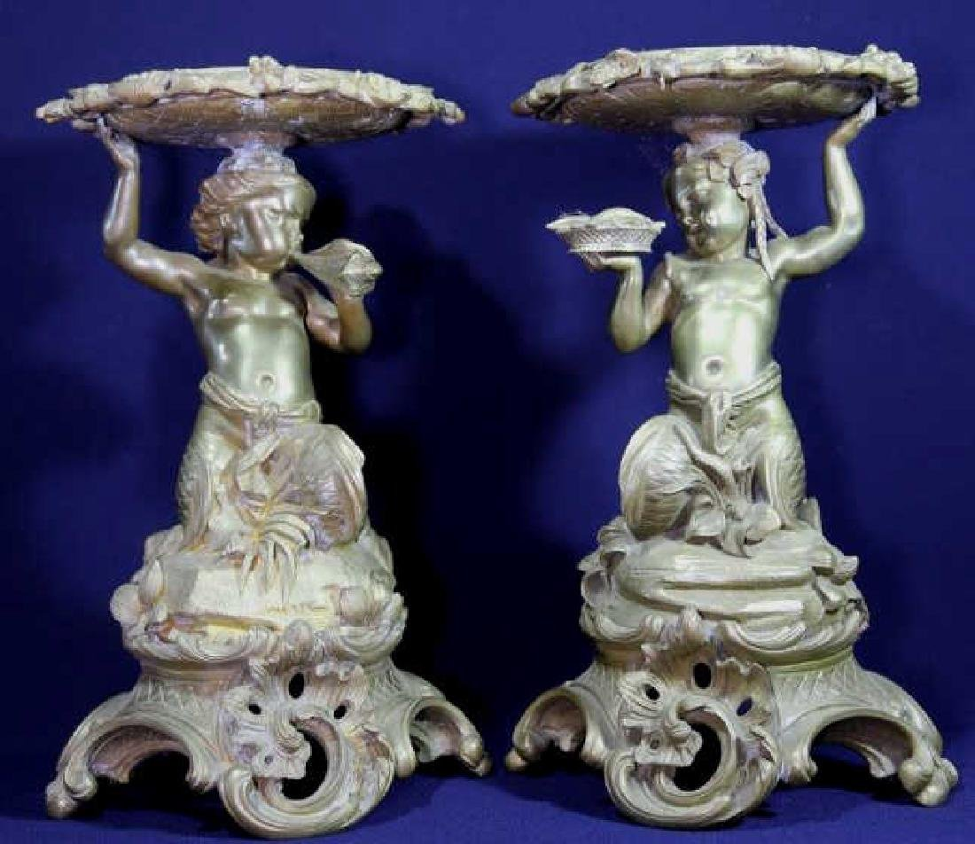 FRENCH 19TH C. IMPORTANT BRONZE TAZA'S