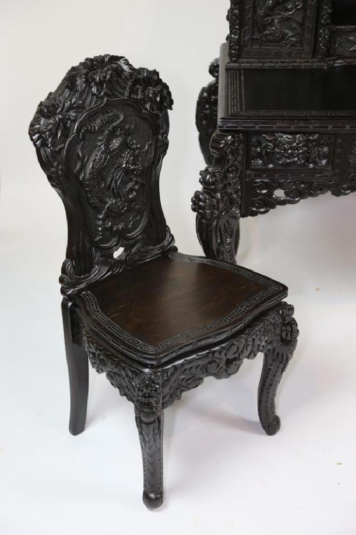 CHINESE ANTIQUE HAND CARVED WRITING DESK & CHAIR - 4