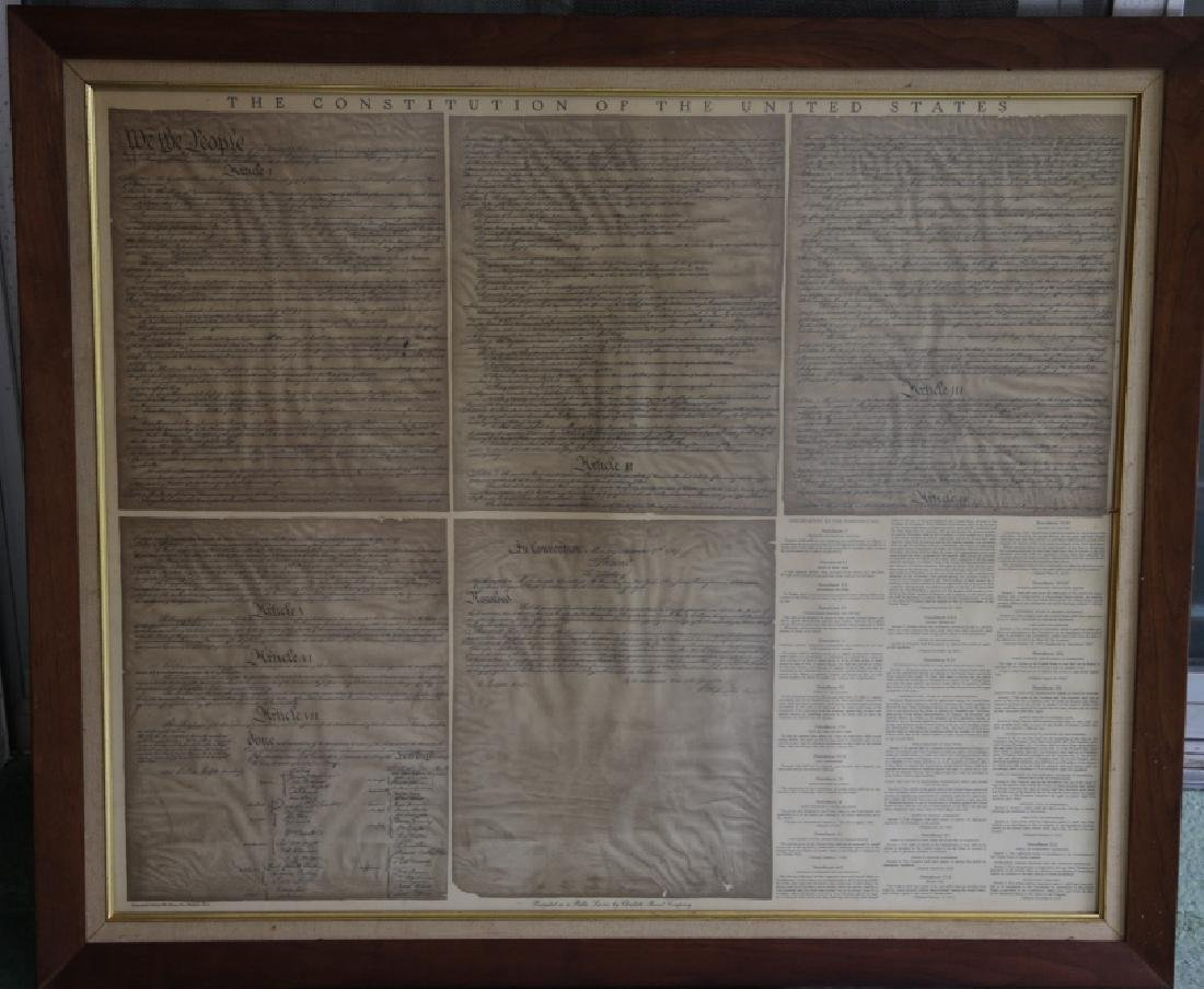 NC STATESMAN'S US FRAMED ANTIQUE CONSTITUTION
