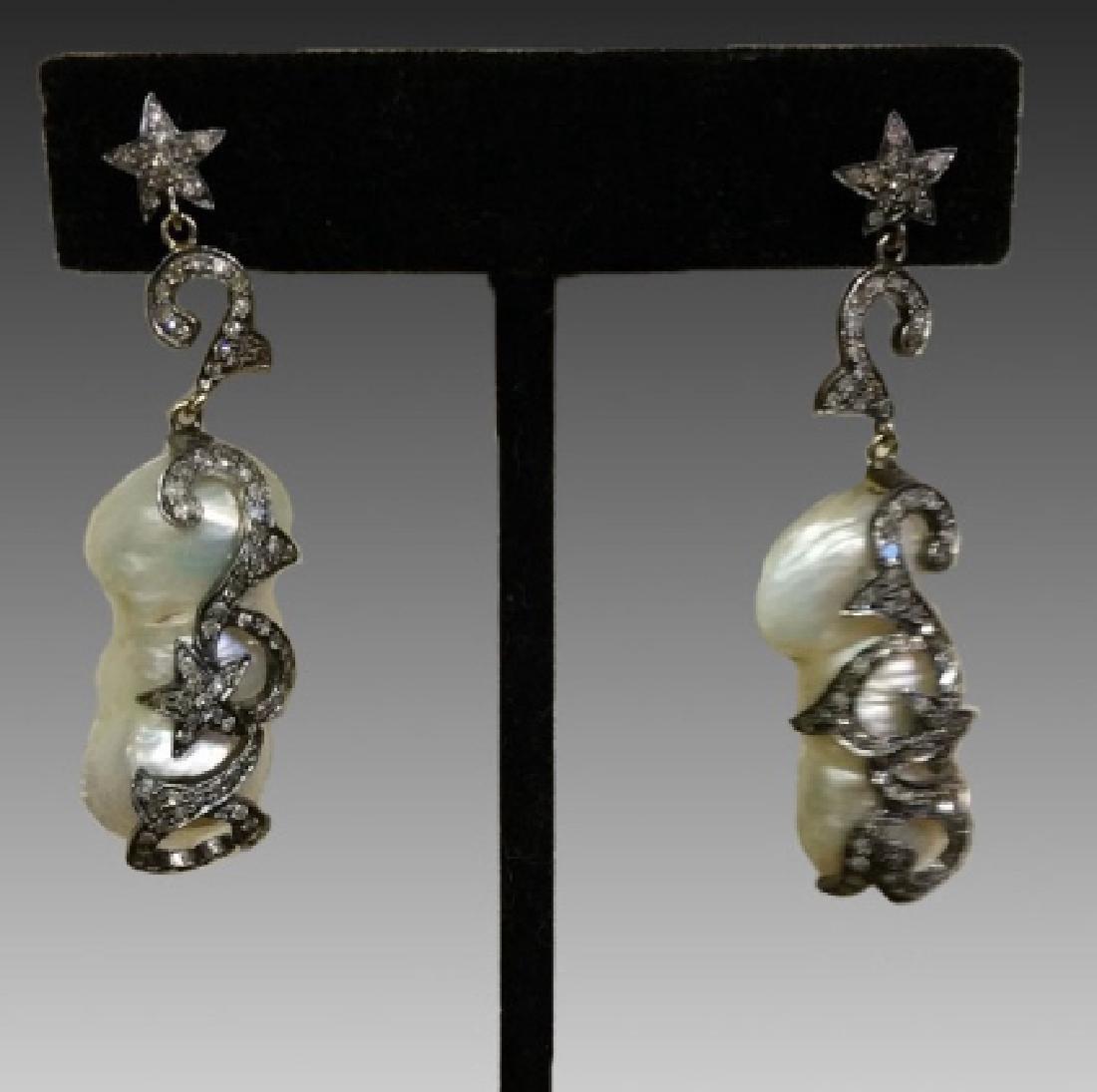 STERLING SILVER BAROQUE & DIAMOND EARRINGS